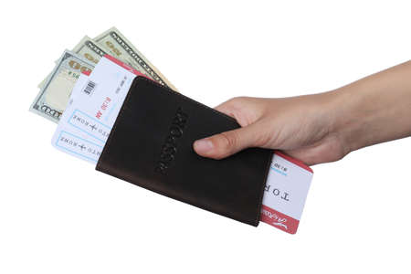 Woman holding passport with money and tickets on white background, closeup. Travel agency concept