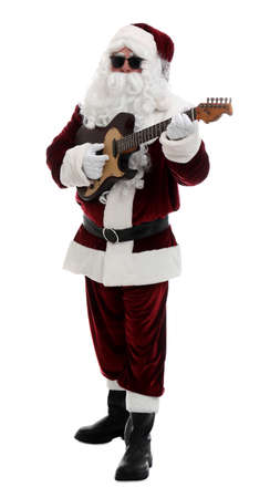 Santa Claus playing electric guitar on white background. Christmas music