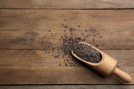 Black salt in scoop on wooden table, top view. Space for text Stock Photo