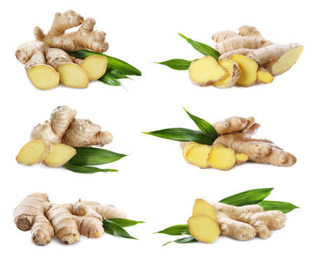 Set of fresh aromatic ginger with green leaves on white background