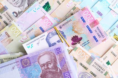 Ukrainian money as background, top view. National currency Zdjęcie Seryjne