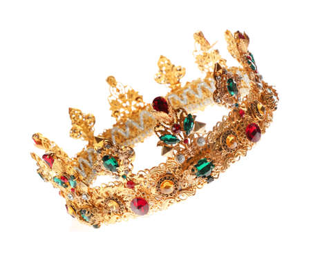 Beautiful golden crown on white background. Fantasy item