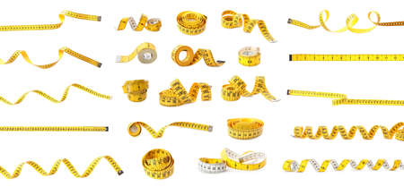 Set of yellow measuring tapes on white background. Banner design