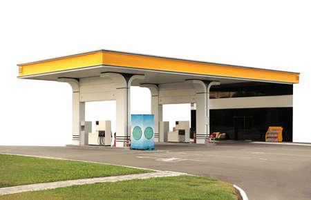 Modern gas station on white background, exterior