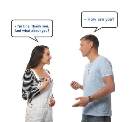 Man and woman talking on white background. Dialogue balloons with phrases in English over them