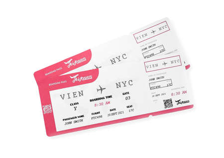 Tickets isolated on white, top view. Travel agency concept