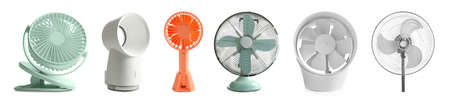 Set of different fans on white background, banner design