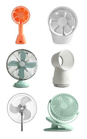 Set of different fans on white background