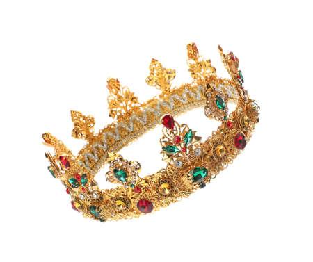 Beautiful golden crown on white background. Fantasy item 免版税图像