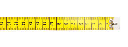 New yellow measuring tape isolated on white, top view