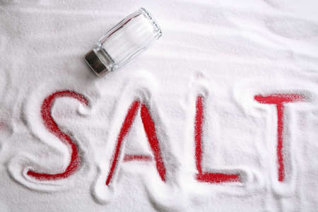 Word SALT and shaker on red background, top view