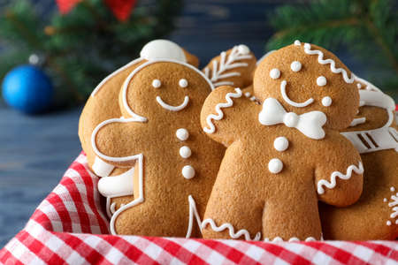 Decorated Christmas cookies in box, closeup view