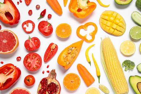 Composition with fresh organic fruits and vegetables on white background, top view Reklamní fotografie