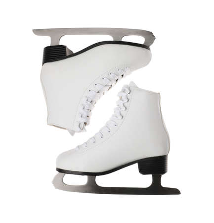 Pair of figure ice skates isolated on white, top view