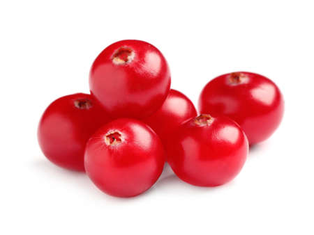 Pile of fresh cranberries on white background