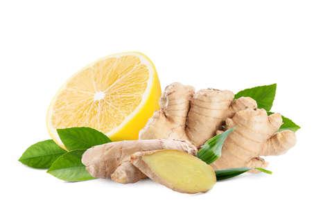 Fresh ginger root and lemon on white background