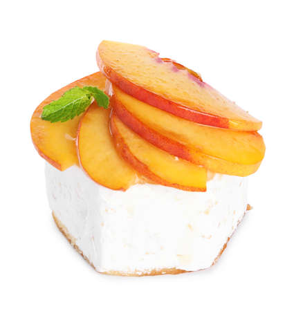 Delicious dessert with peach slices isolated on white Stok Fotoğraf