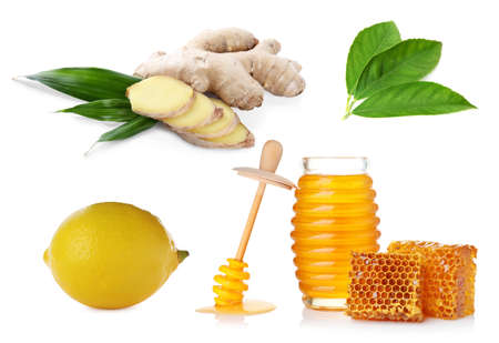 Ginger root, lemon and honey on white background Banque d'images