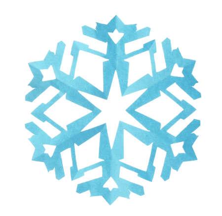 Beautiful light blue paper snowflake isolated on white Zdjęcie Seryjne