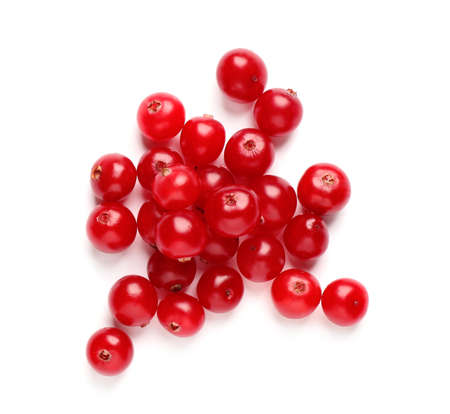 Pile of fresh cranberries on white background, top view