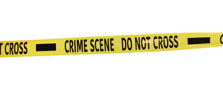 Yellow crime scene tape isolated on white