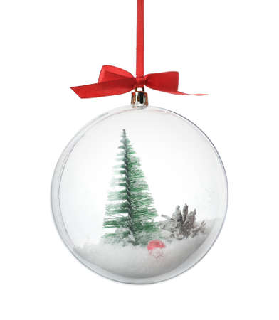 Decorative snow globe with miniature isolated on white Stock Photo