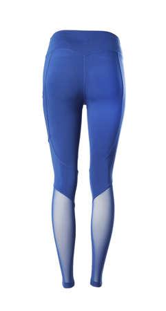 Blue women's leggins isolated on white. Sports clothing