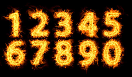 Set of flaming numbers on black background