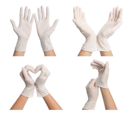 Collage with photos of woman wearing medical gloves on white background, closeup