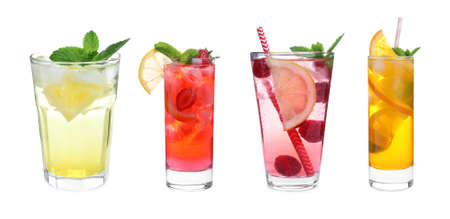 Set of different lemonade drinks made with soda water on white background. Banner design Stockfoto