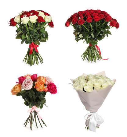 Set of beautiful rose bouquets on white background Imagens
