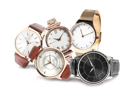 Collage of stylish watches on white background