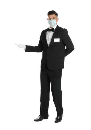 Waiter wearing medical face mask on white background