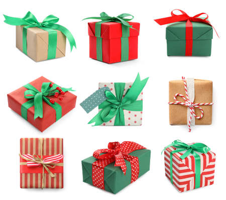 Set of different Christmas gift boxes on white background