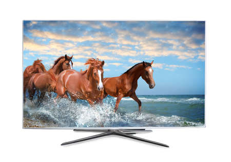 Modern wide screen TV monitor showing horses running near sea, isolated on white