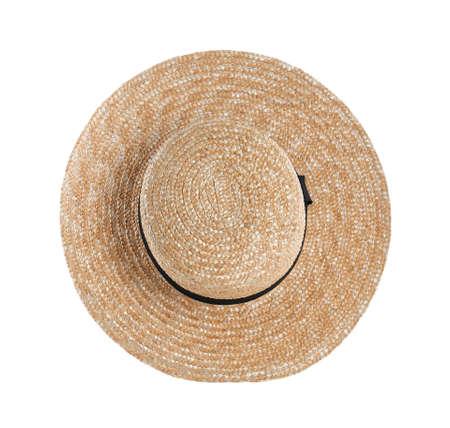 Straw hat isolated on white. Stylish accessory