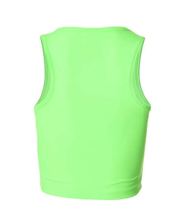 Green women's top isolated on white. Sports clothing Imagens