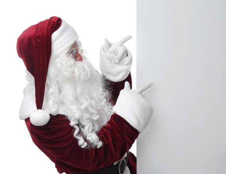 Santa Claus near blank banner on white background