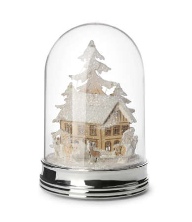 Beautiful snow globe with house and trees isolated on white Stock Photo