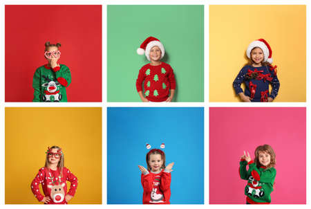 Collage with photos of cute children in different Christmas sweaters on color backgrounds Stock Photo