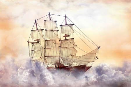 Dream world. Sailing ship floating among wonderful fluffy clouds