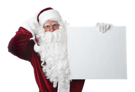 Santa Claus with blank banner on white background