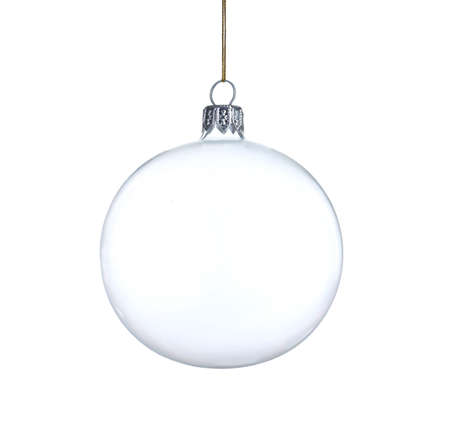 Transparent glass Christmas ball isolated on white