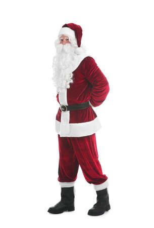 Full length portrait of Santa Claus on white background