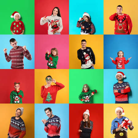 Collage with photos of adults and children in different Christmas sweaters on color backgrounds