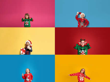 Collage with photos of adorable children in different Christmas sweaters on color backgrounds Stock Photo