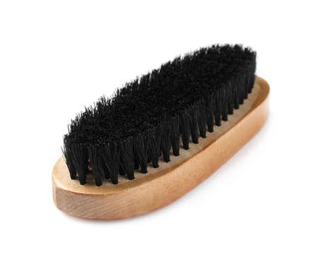 Shoe brush isolated on white. Footwear care item Stock Photo