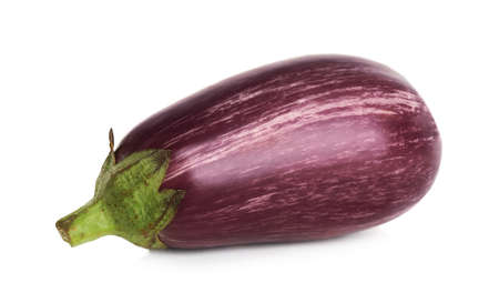 Fresh ripe purple eggplant isolated on white