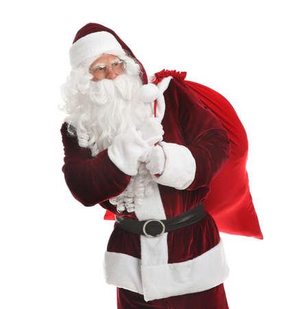 Santa Claus with sack on white background Stock Photo