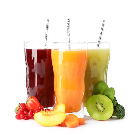 Delicious colorful juices in glasses and fresh ingredients on white background Stock fotó